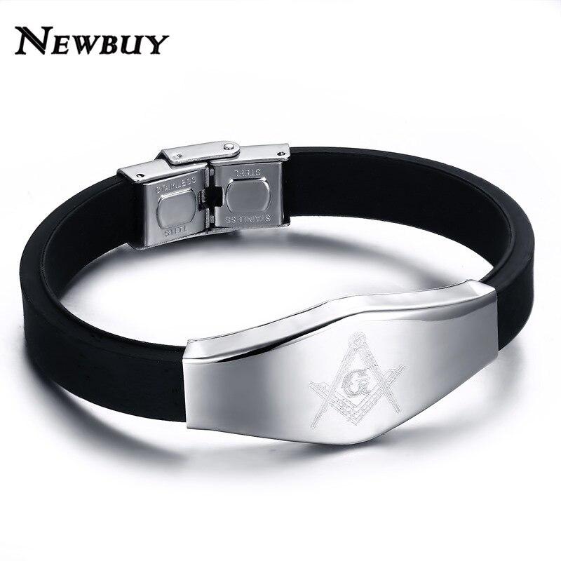 NEWBUY Fashion Masonic Silicone Men Bracelets Classic Design Stainless Steel Bracelets & Bangles Male Jewelry