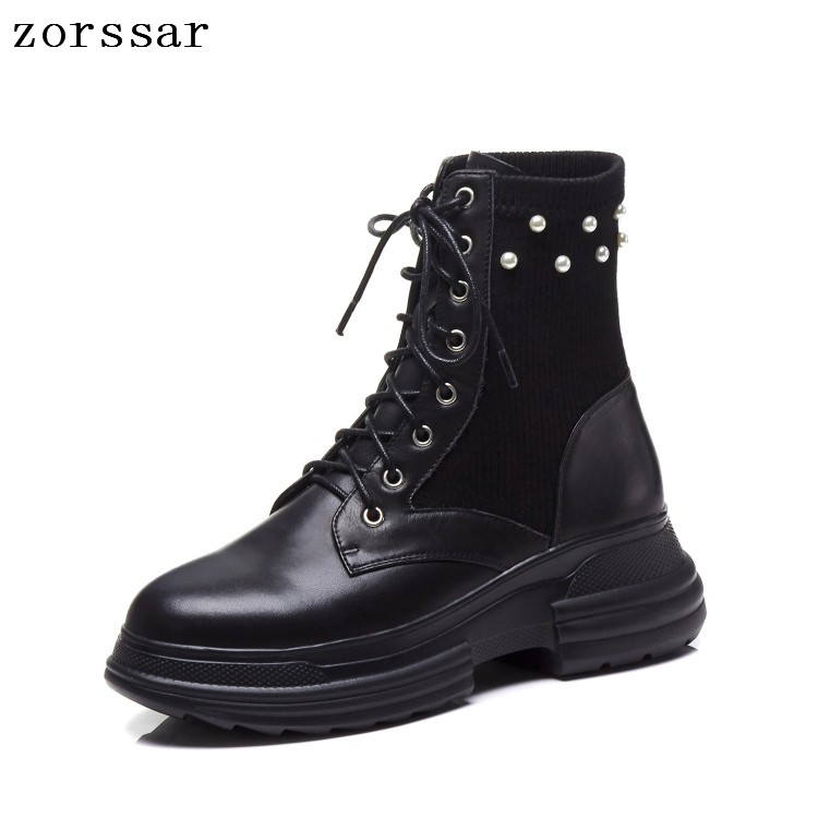 {Zorssar} 2019 Fashion winter Women Boots Platform short boots Genuine Leather Lace up Flat ankle Motorcycle boots high quality{Zorssar} 2019 Fashion winter Women Boots Platform short boots Genuine Leather Lace up Flat ankle Motorcycle boots high quality