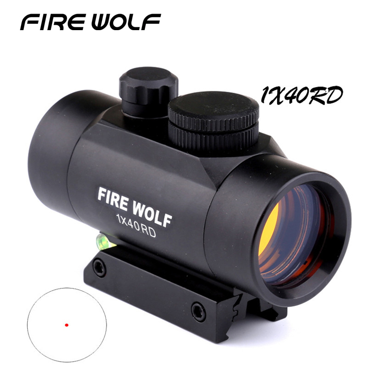 FIRE WOLF 1x40 Red Dot Sight Riflescope 11/20mm Rail Mount For Shotgun Rifle With Bubble Level Ak 47 Scope Laser