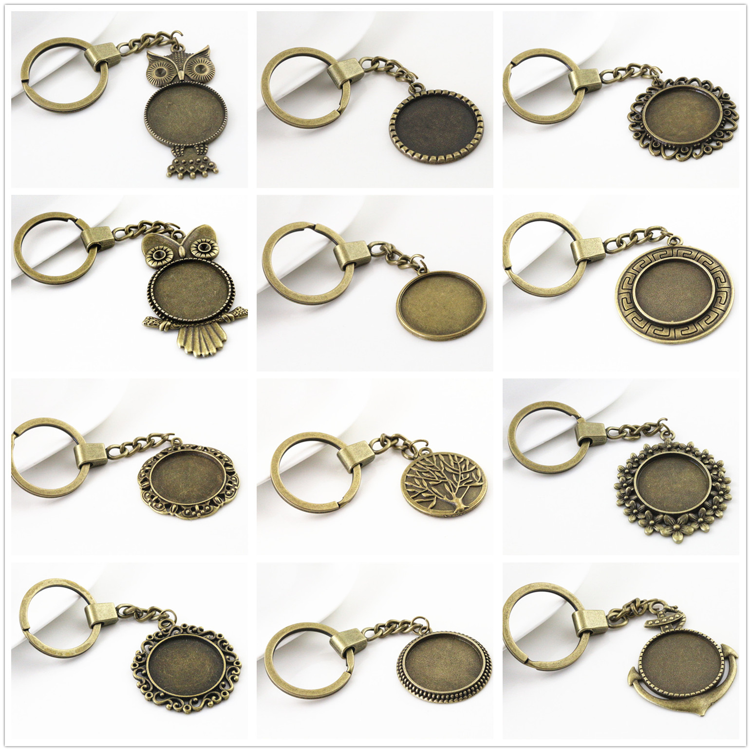 2pcs 25mm Inner Size 12 Style Antique Bronze Cameo Setting Base;Handmade Cameo Setting, Metal Key Chains Accessor