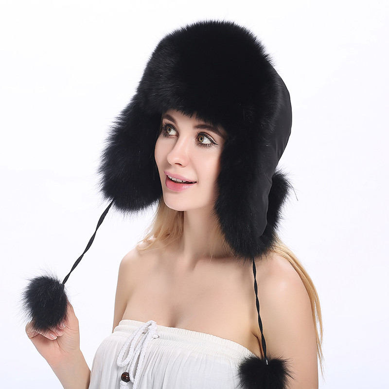 84d4e6397fb ZY84005 Protect Ear Warm High-end Female Snow Cap With Ball Hot Sell Winter  Genuine Real Fox Fur Russian Style Cap