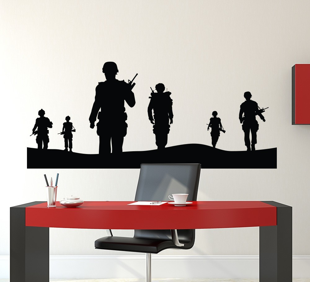 Aliexpress.com : Buy Army Solider Wall Decal Home Decor Vinyl Poster  Military Army Men Wall Mural Removable Teenboys Bedroom Decor Wallpaper Y  629 From ... Part 55