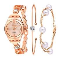 Pour les Femmes De Luxe Xinge Marque Or Rose Perle Bracelet En Cristal Montre Femme Fille De Mode Montre-Bracelet Électronique S0393