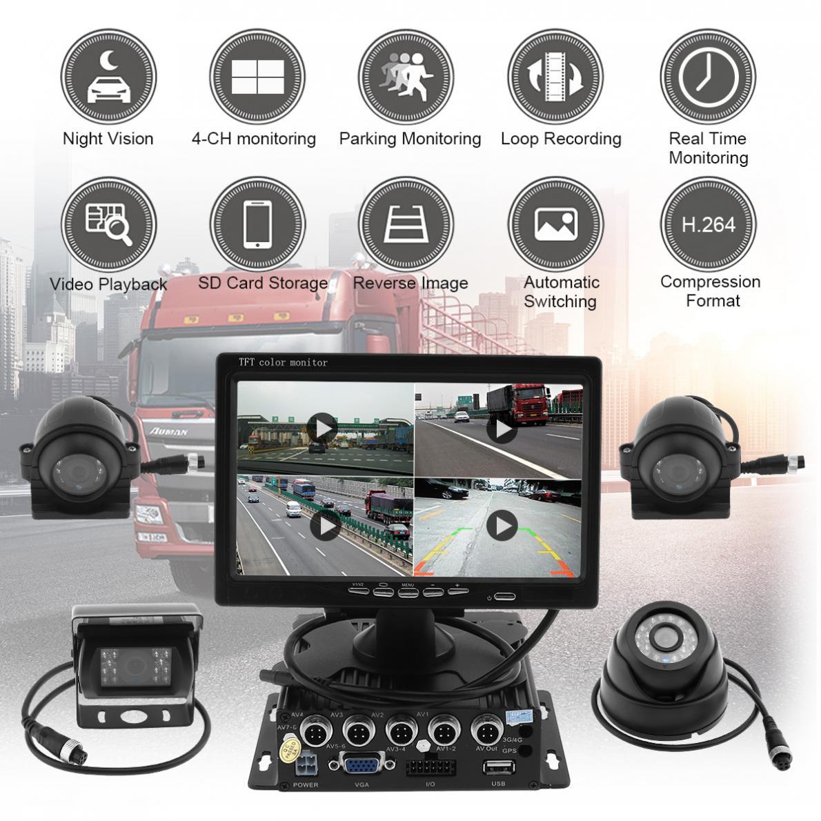 7 дюймов 8 36 В 4CH 720 P HD TFT ЖК дисплей Quad заднего вида монитор с 4X CCD водонепроницаемый ИК металлическая крышка Камера Системы для грузовик RV