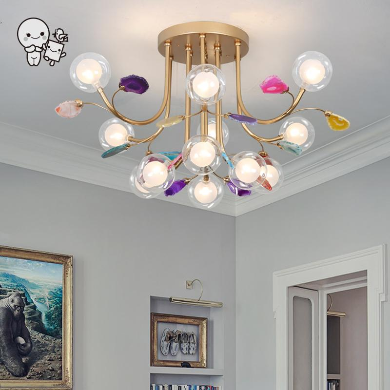 Clear Glass Bubble Multicolor Agate Blue Pink Green Yellow Purple Ceiling Light Fixture Nordic Contemporary Lustre Lamp Bedroom