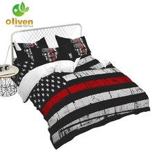 American Flag Bedding Set Skull Print Duvet Cover King Queen Bed Stripes Star Quilt Pillowcase 3Pcs D40