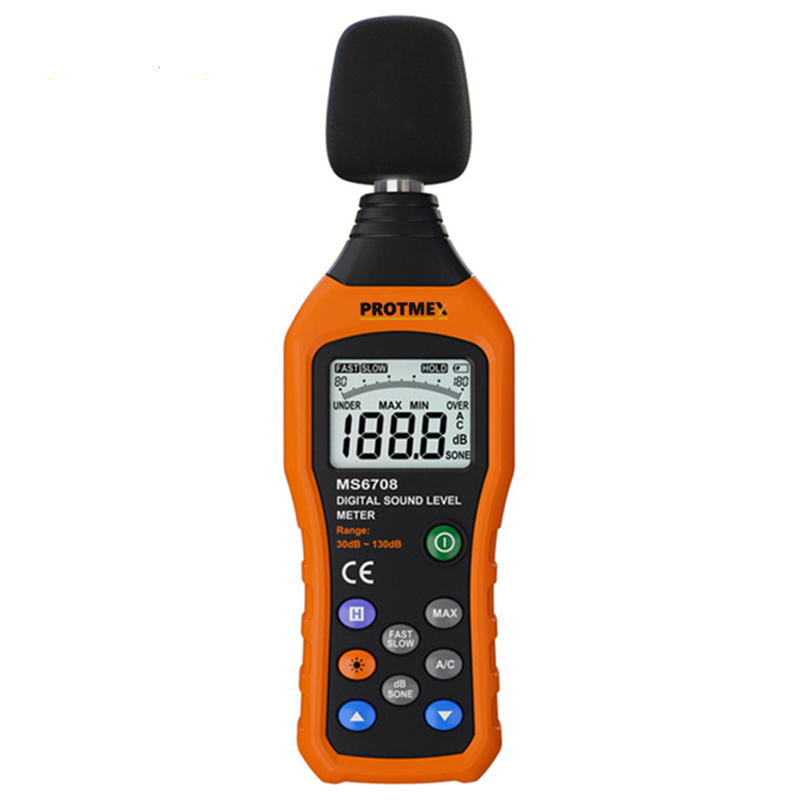MS6708 Digital Sound Level Meter Noise Meters Decibel Tester 30~130dB Measurer with Fast/Slow Selection, Backlight, Max/Min nktech ut353bt sound level meter digital bluetooth noise meter tester 30 130db decibel monitoring sound level meters