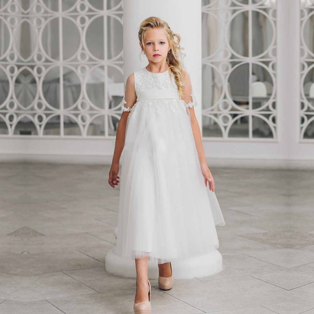 Half Sleeves Lace Appliques Ribbon Little Girl A-line Zipper 0-12 Years Old For Christmas Ankle-Length Mother Daughter Dresses