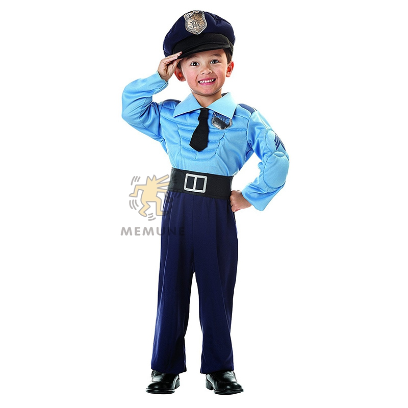 Great Muscle Police Officer Toddler And Boys Career Costume For Pretend Play Or Halloween Age 12m-10y