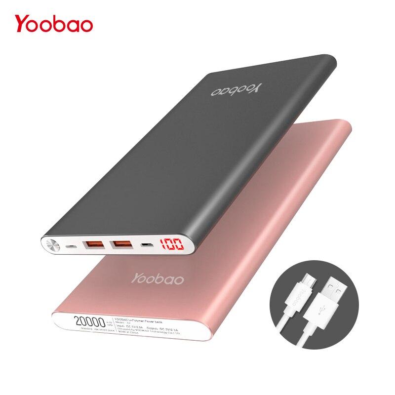 Yoobao A2 20000 мАч внешный Аккумуляторы для телефонов тонкий портативное зарядное устройство портативная зарядка повер банк Батарейки Зарядное устройство pover банка для xiaomi Mi iphone 7 6 5 samsung