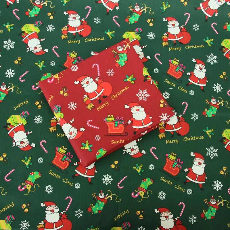 100% cotton twill cloth dark red GREEN Chrismas Santa Claus fabric for DIY bedding handwork tablecloth quilting patchwork craft