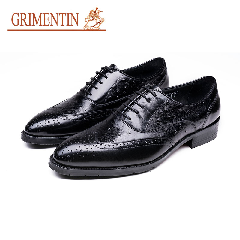 GRIMENTIN Fashion Mens Italian Leather Oxford Shoes High Quality Lace Up Formal Business Wedding Shoes Pointed Toe