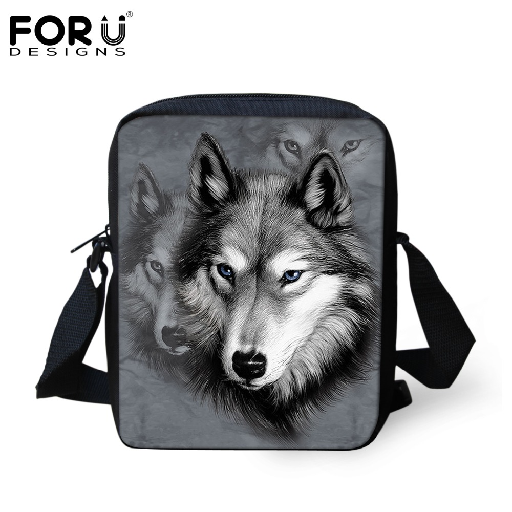 FORUDESIGNS Men Messenger Bags Cool Animals Wolf Shoulder Bag 3D Pet Husky Dog P