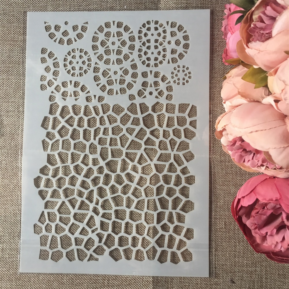 1Pcs A4 Circle Texture Hive DIY Layering Stencils Wall Painting Scrapbook Coloring Embossing Album Decorative Paper Template