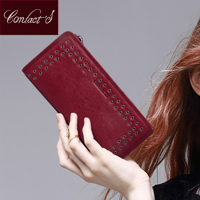 Contact's Luxury Brand Women Wallets Genuine Leather 2017 New Long Design Ladies Purse Clutch Bag Card Cell Phone Holder Wallet women wallets hello kitty bag purse leather long women s purse coin money bag ladies clutch bag card holder sac bolsas feminina