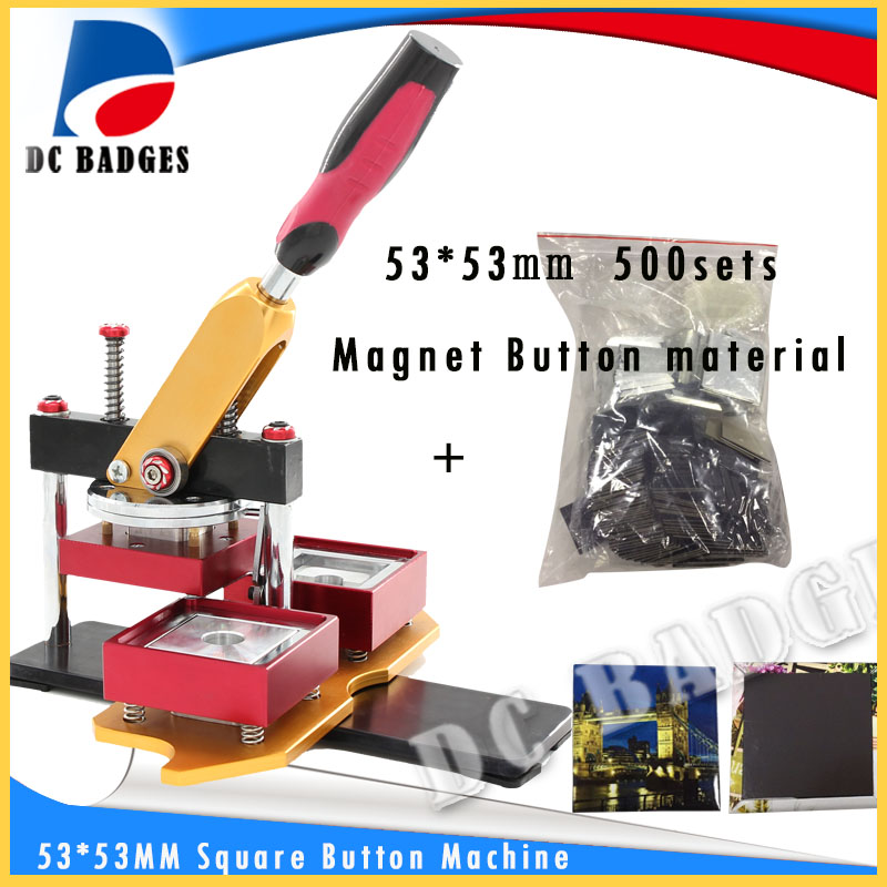 53*53mm Square fridge magnet button badge Press Making Machine  including mold with 500sets magnet button material machine set 2016 new machine manual press badge making machine factory direct sale