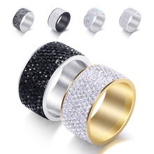 Unisex 8 Row Crystal Stainless Steel Finger Ring Women and Men Fashion Wedding Party Jewelry