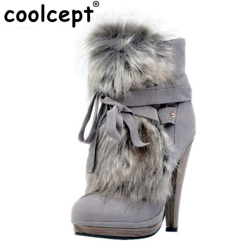 Women Round Toe Platform Ankle Boots Brand New Ladies Fur Bootines Mujer Fashion Lace Up Spike Heels Shoes Footwear Size 34-47 удочка зимняя swd ice action 55 см