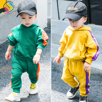 Lemonmiyu Toddler Boys Clothing Sets Hoeded Cotton Boy Suits For 1T 2T 3T 4T Letter Active Full Length Pullover Children's Sets