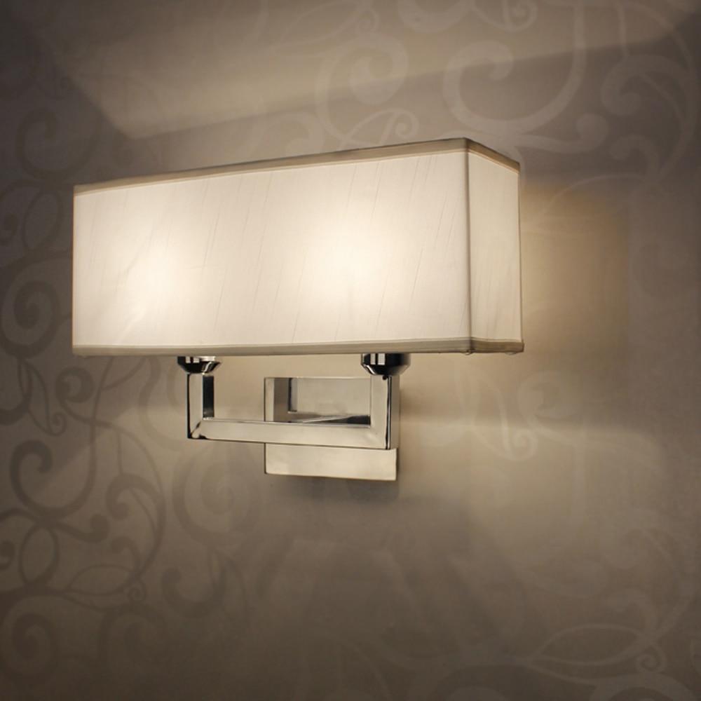 Bedroom wall light fixtures - Led Restroom Bathroom Bedroom Wall Lamp Wall Lights Rustic Style Rectangle Wall Light E27 Cloth Lampshade