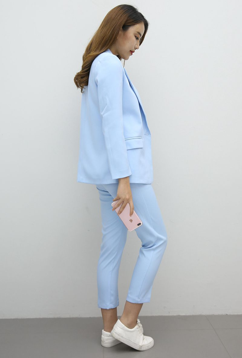 The new career suit female 2017 spring and autumn long - sleeved small suit jacket trousers casual two - piece suit