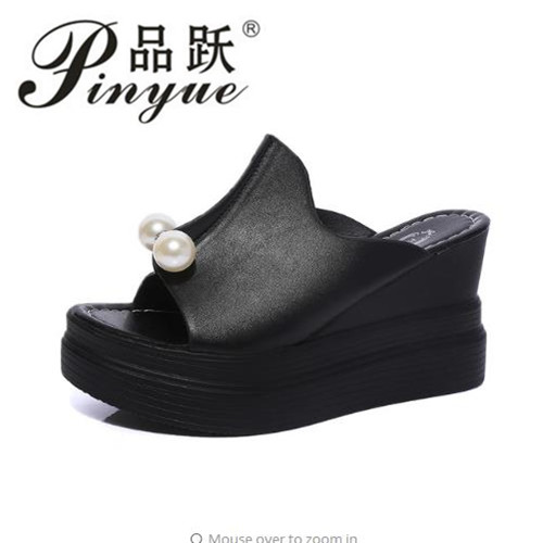7a317f3518f600 Designer Women Summer Sandals Thick Heel Platform Wedges Sandals Sexy Beading  Slippers Sandalias Slides White Black High Shoes