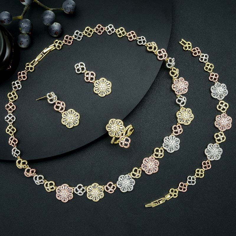 ModemAngel Luxury Flowers High Quality Super AAA Cubic Zirconia Necklace Bangle Earring Ring Dubai Jewelry Set