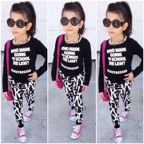 2016 Stylish Kids Girls Autumn Clothing Set Tops Pullover Coat Skinny Pants Trousers Outfits Children Clothes  Set