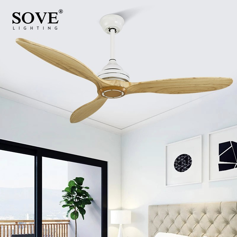 SOVE Black Wooden Ceiling Fan Wood Ceiling Fans Without Light Decorative Room Home Fan Lamp White DC Ceiling Fans With Lights