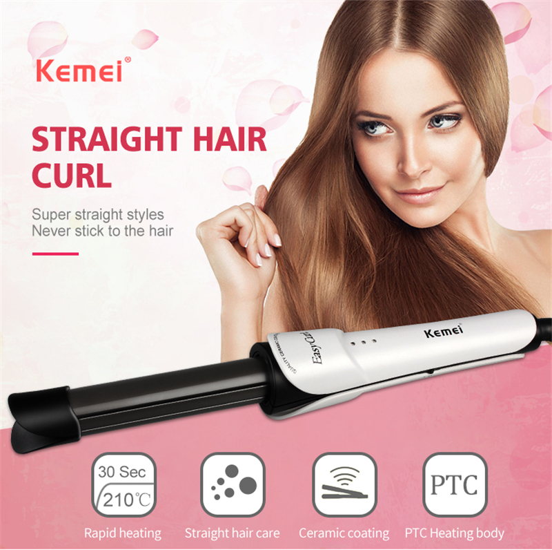 Kemei KM-211 Curling iron 2 IN 1 Hair curler Professional Care Ceramic Rapid Heating Styling Tools Deep Curlers/Straight irons electric curling iron straight iron ceramic plate does not hurt hair straight and straight powder bang big volume curlers