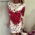 Nueva Primavera Verano 2016 Vestidos de Las Mujeres Atractivas Del Club Del Partido de Bodycon Vaina Casual Elegante Vestido de Impresión Corazón Rojo Precioso Vestidos