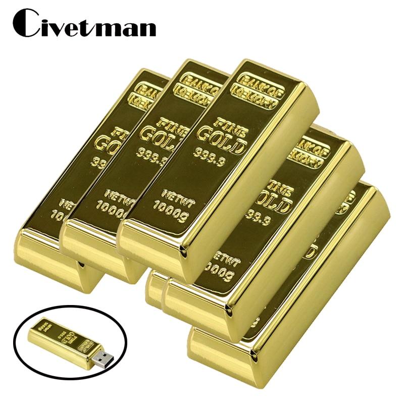 USB-Stick Neueste Desgin Bullion Gold Bar USB 2.0-Stick Stick U Disk 8 GB 16 GB 32 GB 64 GB 128 GB Pendrive