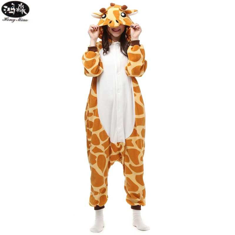 Пара Жираф сиамские пижамы зима вечерние унисекс Вечеринка Косплей животных  Пижама мультфильм взрослые пижамы женские милые b9c6446890d60