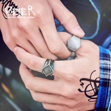Beier new store 316L Stainless Steel Antique smudge fashion square men's and women's rings high quality jewelry for dropshipping