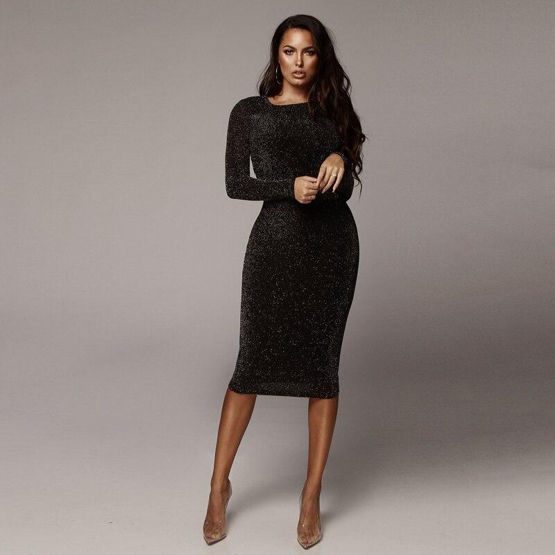 Платье Черное Миди С Длинным Рукавом