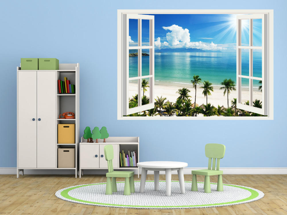 HOT Tree Wall Decals Beach Trees Top Quality D Window Wall - 3d window wall decals