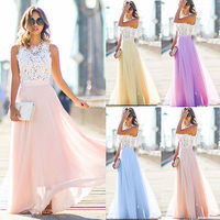 UK Women Long Lace Chiffon Evening Formal Party Ball Gown Prom Brides Maxi Dress