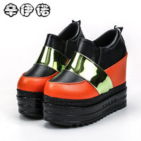 2018 Spring Design Women Fashion Wedges Sneaker Pink Black Sequins Shiny Shoes Leather Casual Shoes For