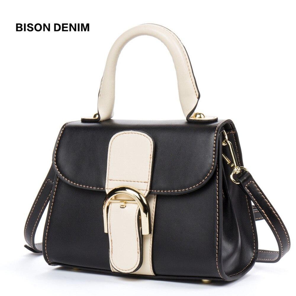 BISON DENIM Luxury Handbags Women Bags Designer Cowhide Leather Women Shoulder Bag Fashion Lock Female Handbag