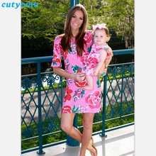 Matching Mother Daughter Clothes Floral Printed Dresses Family Look Girls Women Half Sleeve Dress Clothing Outfits Mommy And Me