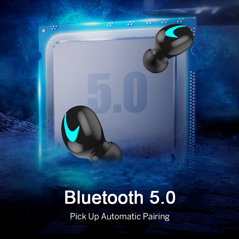 M&J TWS 5.0 Bluetooth headphone 3D stereo wireless earphone with mic IPX5 Waterproof Headset and power bank charging box 2