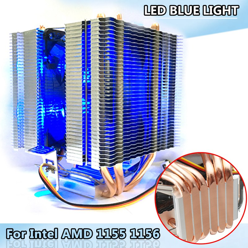 LED Lumière Bleue CPU Ventilateur 6X Caloduc Pour Intel LAG 1155 1156 Socket AMD AM3/AM2 Haute Qualité ordinateur Refroidisseur Ventilateur De Refroidissement Pour CPU