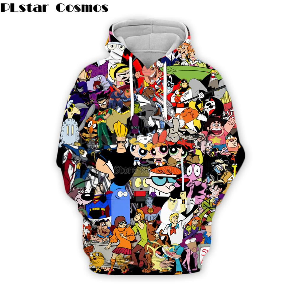 PLstar Cosmos Fashion Men Hoodies 90s Cartoon Gang Character Collage 3D Printed Hoodie Unisex Streetwear Hooded Sweatshirt