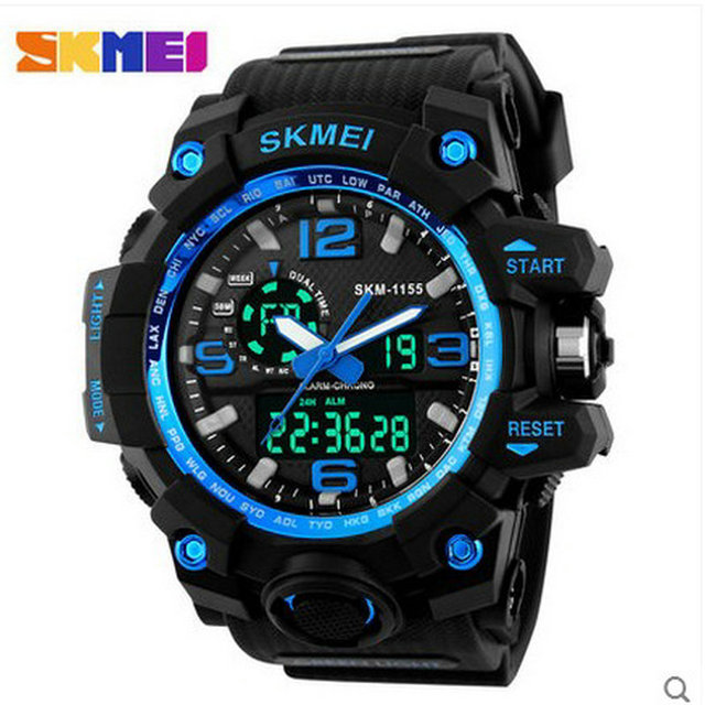 china supplier relojes chronograph men high quality dual time plastic digital watch Sports Fashion Waterproof LED Wristwatches