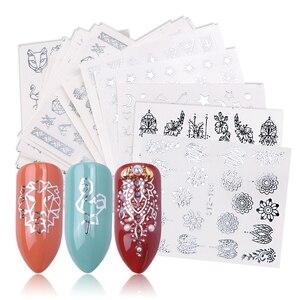 Image 1 - 20 stuks Pure Silver Nail Decals Watermerk Grote Bloemen Wijnstok Eenvoudige Geo Tijger Vos Flamingo Bloemen Stickers Nagels Accessoires BEYS20