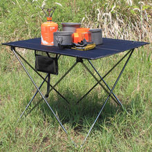 Ultralight Portable Folding Black Table Compact Roll Up Tables with Carrying Bag for Outdoor Camping Hiking Picnic