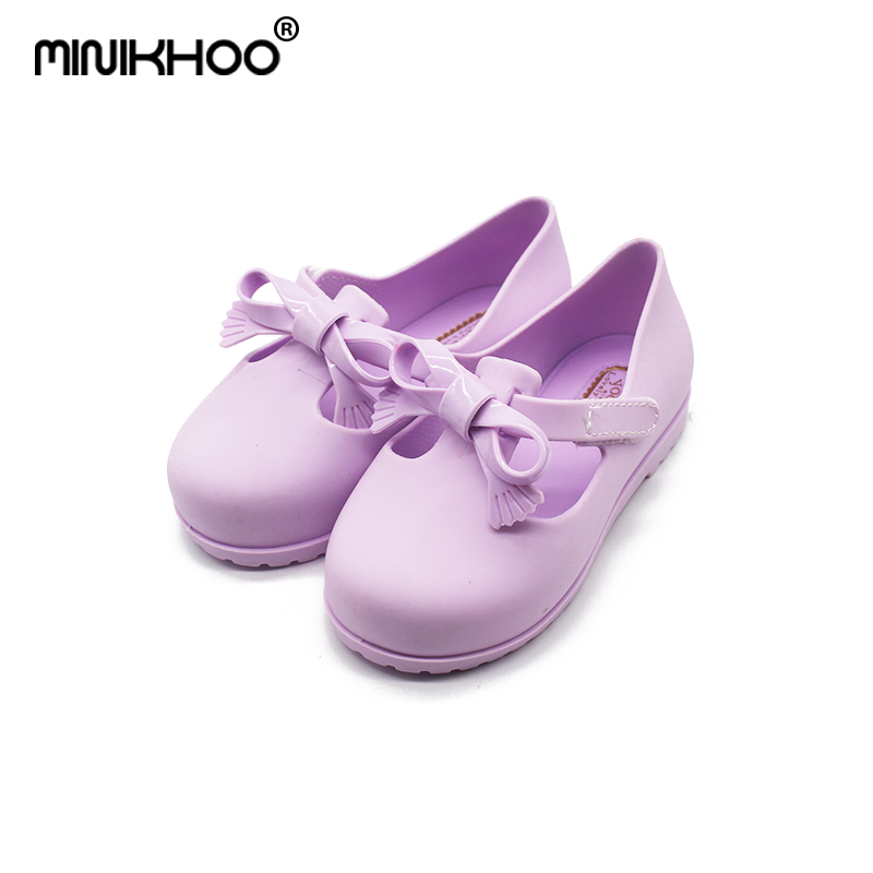 Mini Melissa Candy Color Bow 2018 New Girl Jelly Sandals Children Shoes Non-slip Princess Shoes Melissa Baby Sandals 13.9-16.9cm