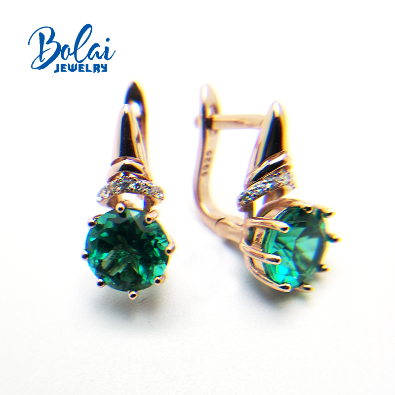 Bolaijewelry,Created green emerald clasp earring 925 sterling silver rose gold jewelry for girls best gift