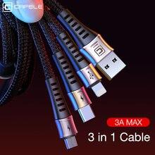 Cafele 3 в 1 USB кабель для iPhone X 8 huawei P30 samsung 3A Быстрая Зарядка Micro usb type C зарядное устройство кабели для передачи данных для мобильного телефона