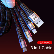 Cafele 3 in 1 USB Cable For iPhone X 8 Huawei P30 Samsung 3A Fast Charging Micro Type C Charger Data Cables Mobile Phone
